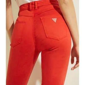 Guess Crop Red Medium Rise Skinny Sarah Fit Jeans